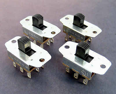 3PDT Heavy Duty Slide Switches: 3A/125VAC: 4/Lot: Very Nice Switches
