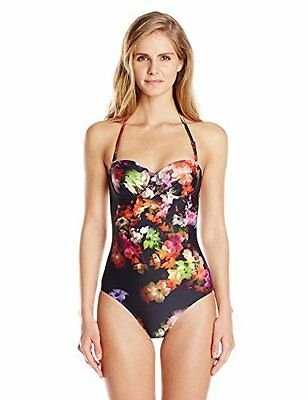 17ed813cd9064 Ted Baker Clere Cascading Floral 1 Piece Swimsuit Black Multi Sz 32 C D New  $125