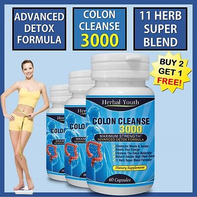 60 COLON CLEANSE CAPSULES 2000mg DAILY WEIGHT LOSS DIET DETOX SLIMMING PILLS