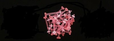 """Pair 14g Pink  5/8"""" Flexible Acrylic Tongue Barbell Retainer Bioflex Z"""