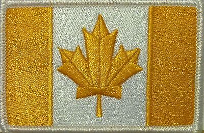 CANADA Flag Iron-On Morale Patch Gold & White Version, White Border #15