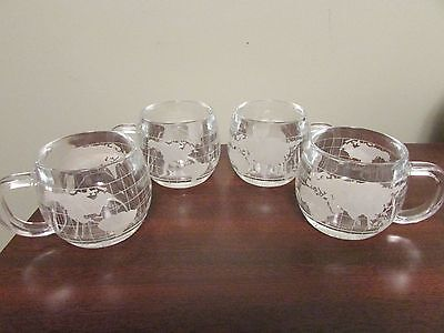 Nestle World Globe Etched Cups Set of 4 - 1970s