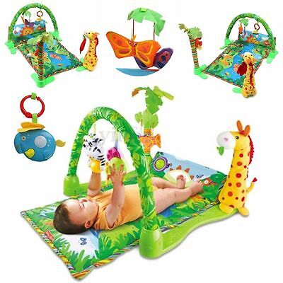 3 in 1 Rainforest Musical Lullaby Baby Activity Playmat Gym Toy Soft Play Mat