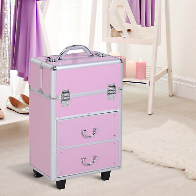 Soozier Makeup Case Cosmetic Organizer Extendable Lockable w/Handle Pink