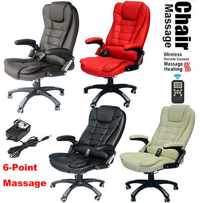 6 Point Heated Vibrating Massage Office Chair Wireless Reclining Leather Chairs