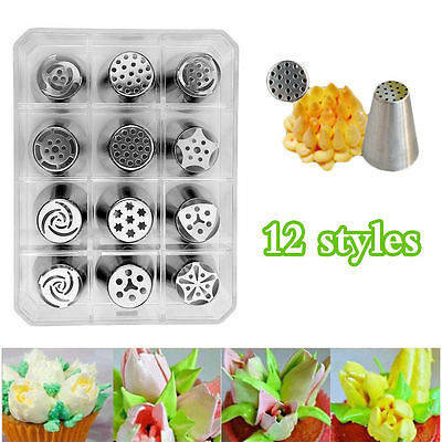 12pcs Style Russian Tulip Stainless Steel Icing Piping Nozzles Tips Tools Set