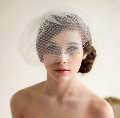 Wedding Bridal Birdcage Face Veil Party Fascinator Feather With Comb White