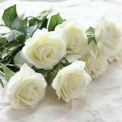 Wedding Home Design Bouquet Decor 20-Head Real Latex Touch Rose Flowers White