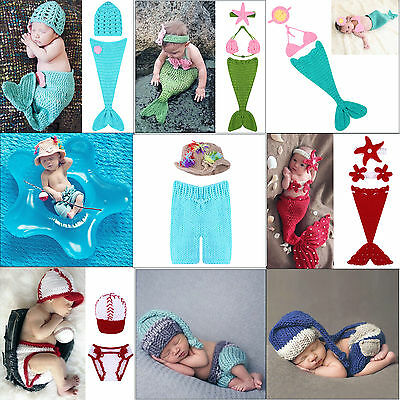 Baby Infant Newborn Mermaid Crochet Knit Costume Photographic Prop Outfits Set