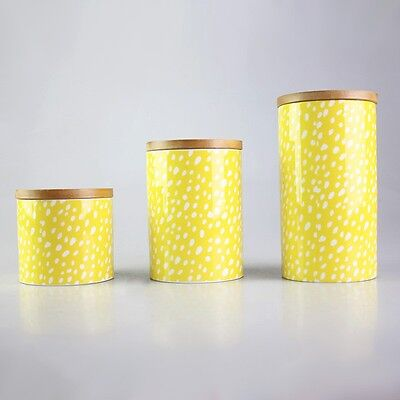 Yellow Confetti Ceramic Canister Sugar Coffee Tea Container Kitchenware Storage