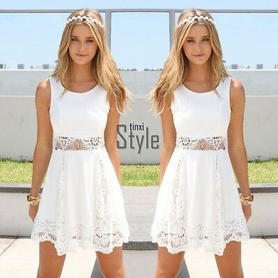 Women Summer Boho Sleeveless Evening Party Cocktail Lace Short Mini Dress UK6-14
