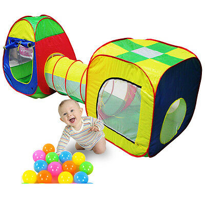 3x Childrens Kids Baby Play Tent Tunnel Ball Pit Playhouse Pop up Indoor Outdoor