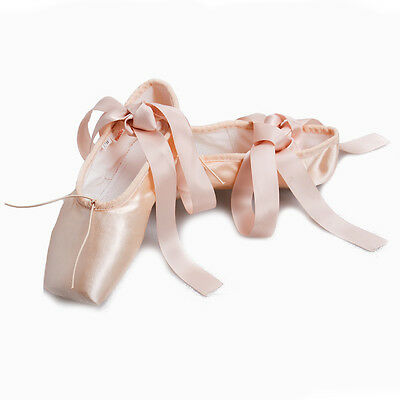 Women Ladies Satin Pink Professional Ballet Dance Shoes Girls Pointe Shoes