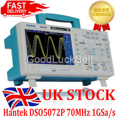 "Hantek DSO5072P Digital Oscilloscope 2CH 70MHz 1GS/s 7"" TFT WVGA 800*480 UK SHIP"