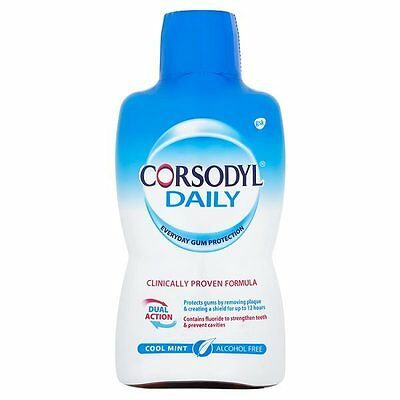 6x Corsodyl Daily Mouthwash Cool Mint 500ml