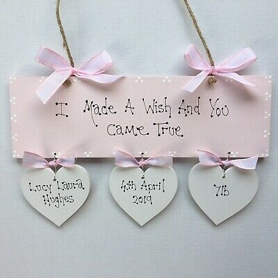 Personalised Baby  Girl Newborn Christening Baptism Naming Day Gift Present Sign