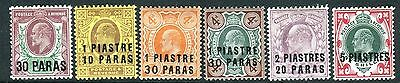 BRITISH LEVANT-1909 A mounted mint set to 9pi on 1/- Sg 16-21