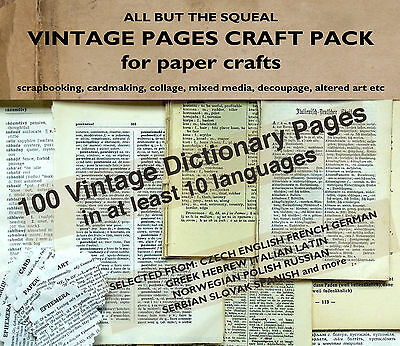 100 Vintage Language Dictionary Pages - Paper Craft Art Collage Decoupage Cards