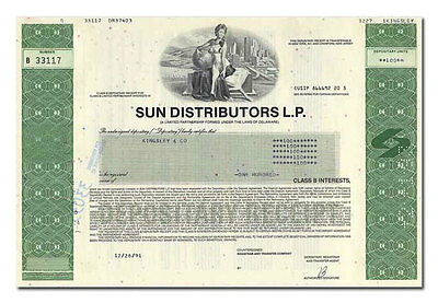 Sun Distributors L.P. Stock Certificate