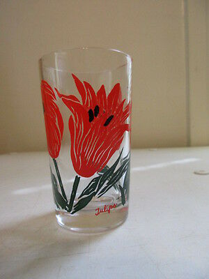 Small Vintage Peanut Butter Glass - Swanky Swigs - Flowers - Red Tulips