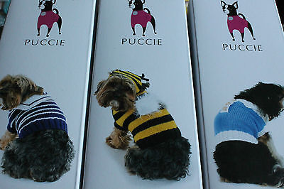 Knitting Kit for a designer dog coat by Pucci, range of styles, 3 sizes in kit.