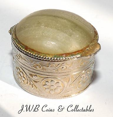 Vintage / Antique Small Gilt Metal & Polished Stone Lidded Pill Box