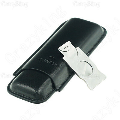 COHIBA Black Leather Holder 2 Tube Travel Cigar Case Humidor With Cutter