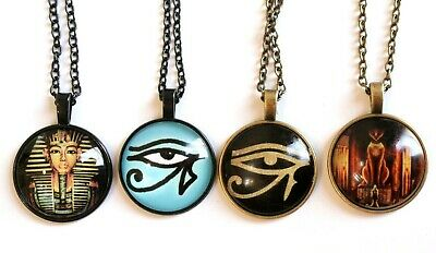 Eye of Horus Ra Cat God Symbol Disc Pendant Ancient Egyptian Necklace Jewellery