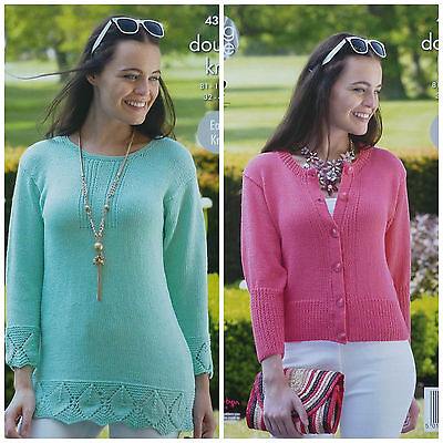 KNITTING PATTERN Ladies Easy Knit Lace Hem Tunic Rib Hem Cardigan Bamboo DK 4342