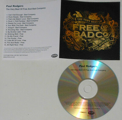 Free & Bad Co. Featuring Paul Rodgers - Very Best Of - 15 Track U.K. Promo CD