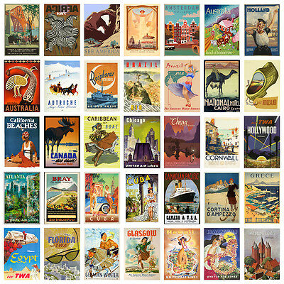 Vintage Retro Travel Holiday A4 A3 Posters (A-H 60 Designs) Buy 1 Get 2 Free