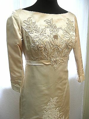 VINTAGE--GORGEOUS 70'S SATIN WEDDING DRESS--Beading--Lace--3/4 Sleeve-Size Small