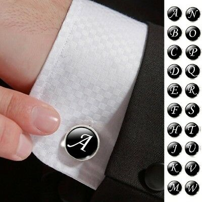 Single Black A-Z Men's Letter Initial Cufflink Alphabet Stainless Steel Weeding