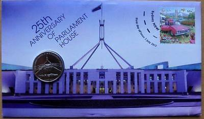 Australia 25Th Anniversay Of Parliament House 2013 Pnc Stamp And 20C Coin Cover
