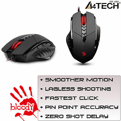 A4Tech Gaming Mouse Bloody Multi-Core GUN3 V7M LED Optical 3200DPI COMPUTER PC
