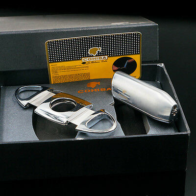 COHIBA 3 TORCH JET FLAME Cigar Lighter With 2 Blades Metal Cutter Silver Set