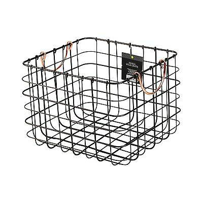 Small Milk Crate Wire Basket - Antique Pewter with Copper Colored Handles - T...