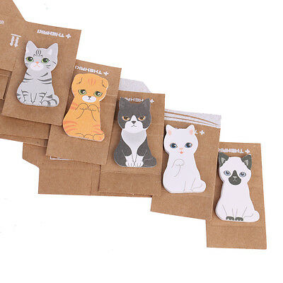5 pcs Cute Kawaii Cat Sticky Note Memo Index Pad Label Post It Gift