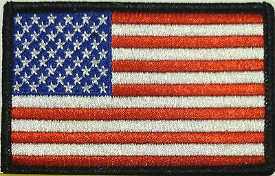 AMERICAN USA Flag Iron-On Tactical Morale Patch ARMY Patriotic Black Border #03