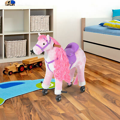 HOMCOM Child Mechanical Walking Ride on Horse Toy Plush Walk Pony Sound Pink NEW