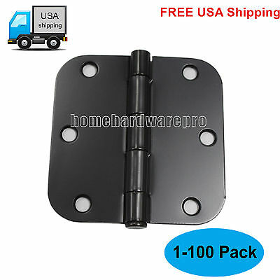 "Pack of 1-100 3.5""x3.5"" Butt Door Hinges 5/8""Radius Black Interior Heavy Duty"