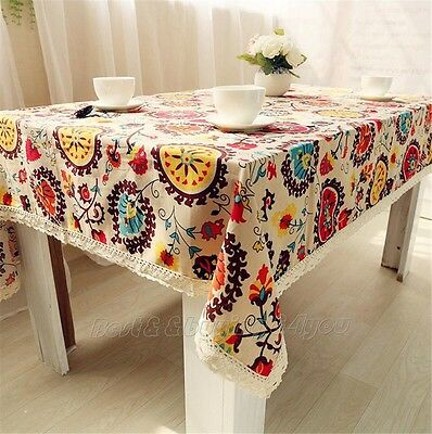 Vintage Pattern Sunflower Dinning Coffee Table Cotton Linen Cloth Covering TP