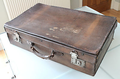 Lovely Old Vintage Brown Suitcase with Leather Handle - Large 60X36cm
