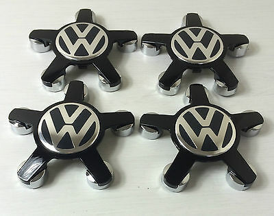 4 VW VOLKSWAGEN Wheel Center BADGE Audi style Caps Cover HUB ALL BLACK 4F0601165
