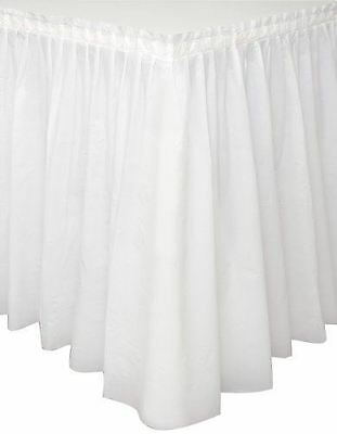 14ft White Plastic Solid Colour Table Skirt Tableware Party Decorations