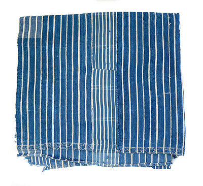 old unisex striped indigo Baule cloth from Ivory Coast, West Africa BL04