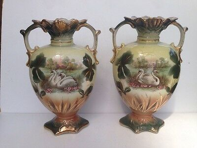 Pair Of Ornamental Pottery Vases