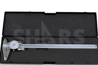 """Shars 12"""" Dial Caliper .001"""" Shock Proof Stainless 4 Way + Inspection Report New"""