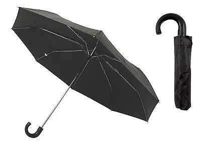 "Black Mens / Gents Compact Umbrella with Hook Handle ~ 35"" Diameter"