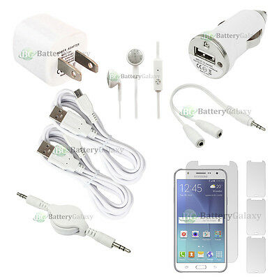 10 pc 2x USB 6FT Micro Cable+2x Wall/Car Charger+Earbud for Samsung Galaxy J7